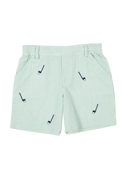 Seersucker Shorts With Embroidered Golf Clubs