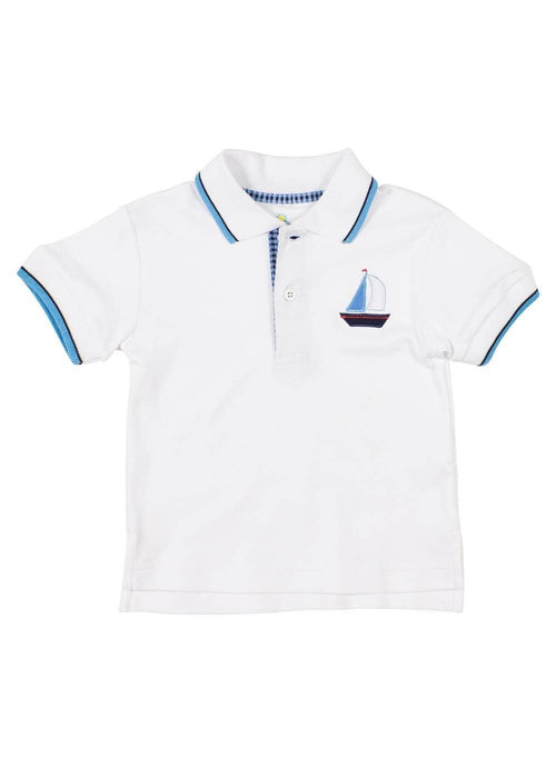 Knit Polo Shirt With Sailboat - Florence Eiseman
