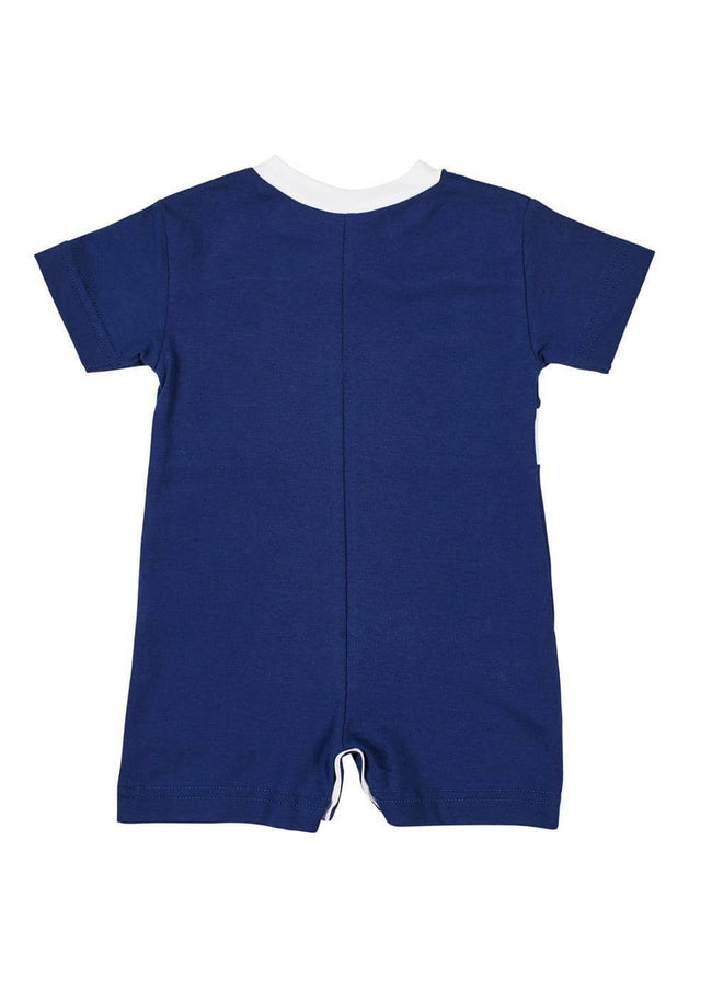 Navy/White Short Sleeve Shortall With Applique Fish - Florence Eiseman