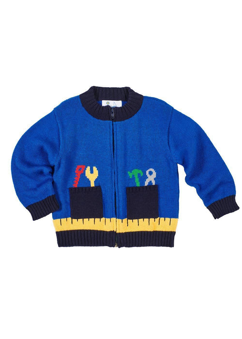 Boys Royal Blue Sweater with Work Tools