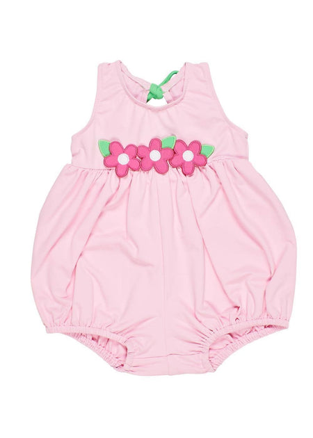 Flamingo Print Romper With Flowers