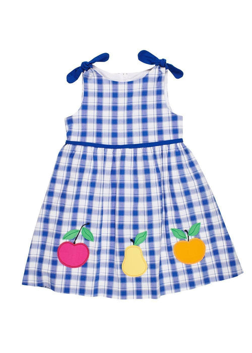 Royal Plaid Dress With Fruit Applique - Florence Eiseman