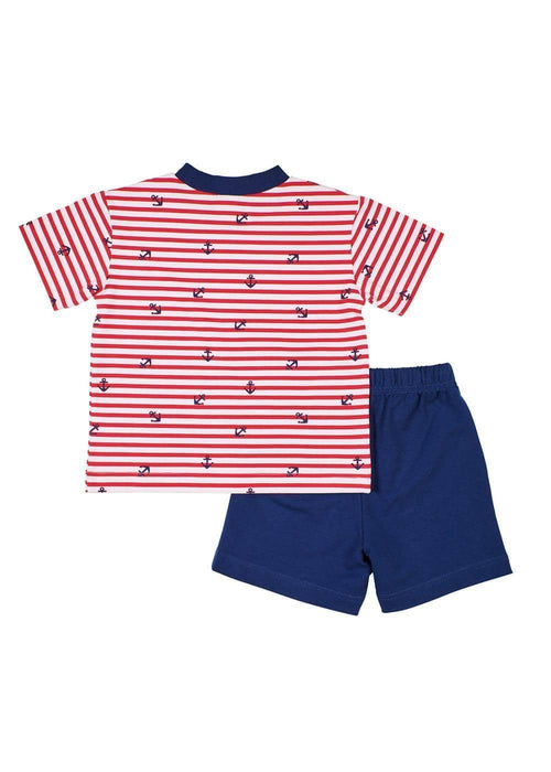 Anchor Print T-Shirt With Navy French Terry Shorts - Florence Eiseman