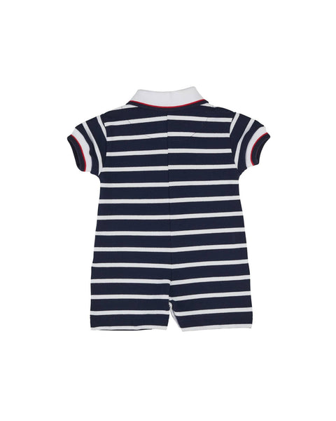 Navy and White Stripe Knit Pique Shortall with Nautical Embroidery - Florence Eiseman