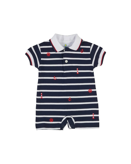 Navy and White Stripe Knit Pique Shortall with Nautical Embroidery