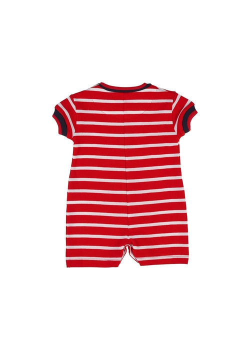 Baby Boys Red Stripe Shortall With Anchor