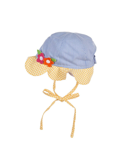 Blue Hat with Yellow Petal Brim and Flower Applique