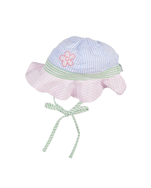 Pastel Seersucker Hat with Flowers