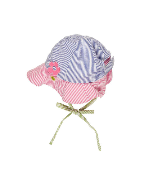 Bright Pink, Blue & Lime Seersucker Hat with Applique Flower