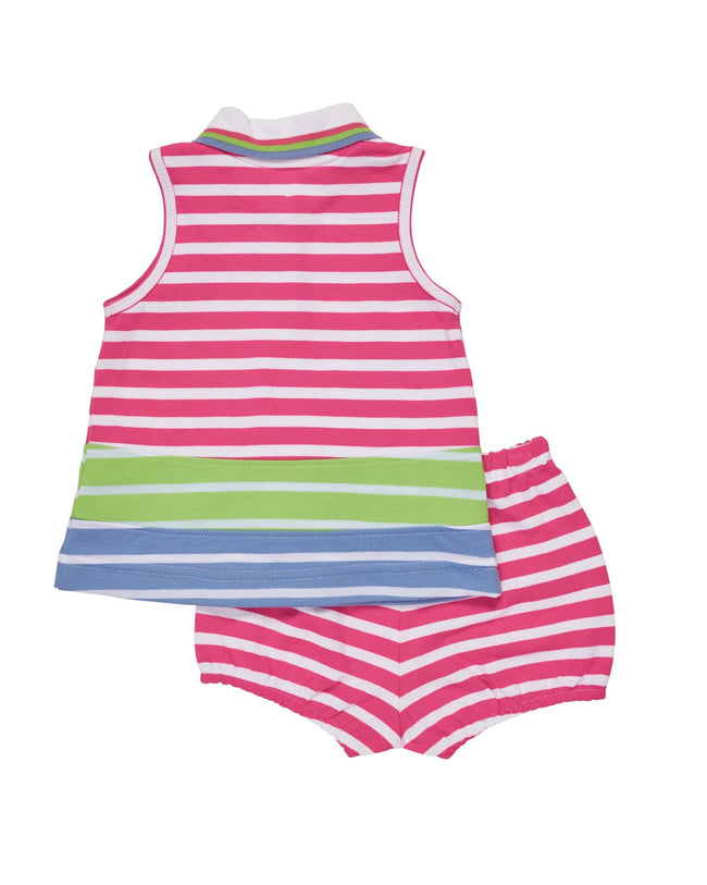 Pink, Lime & Blue Stripe Knit Pique Dress with Flamingo