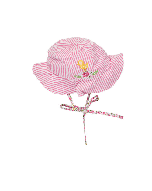 Pink and White Seersucker Hat with Bird and Flower Applique