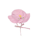 Pink and White Seersucker Hat with Bird and Flower Applique - Florence Eiseman