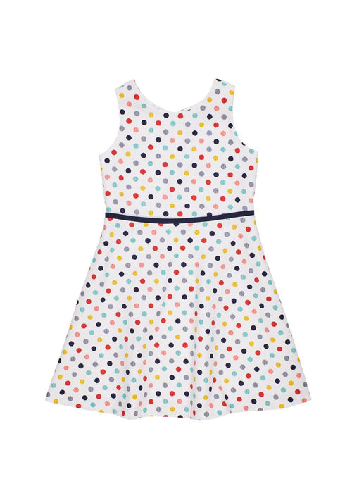 Multi Dot Pique Dress With Bow Back Detail