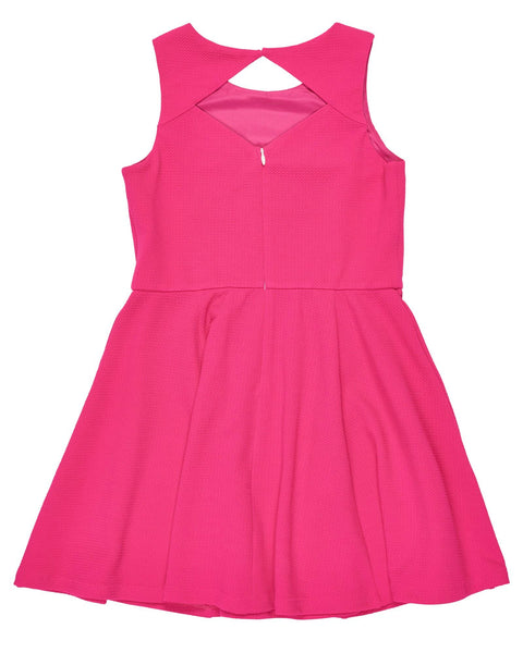 Tween Fuchsia Textured Techno Knit Dress