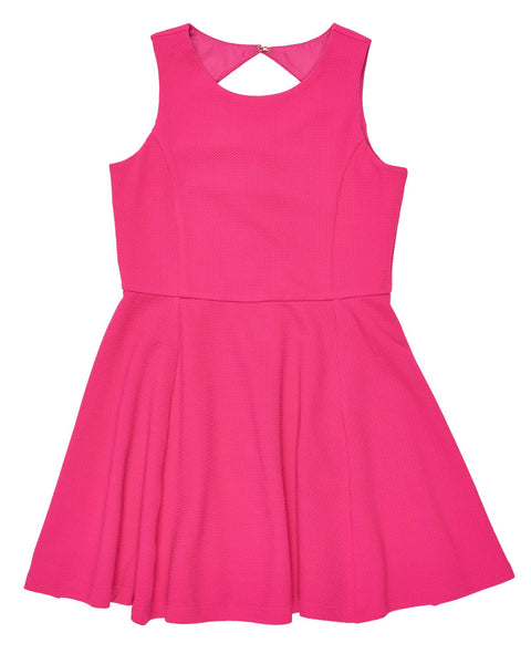 Girl Fuchsia Textured Techno Knit Dress