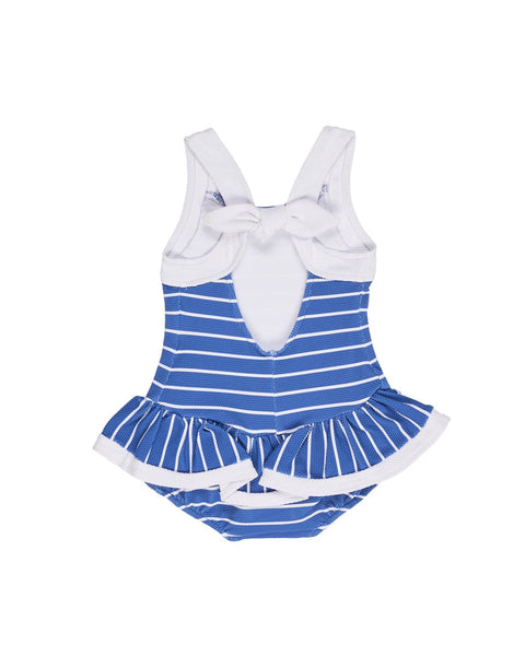 Blue and White Stripe Waffle Knit with Flower Applique - Florence Eiseman