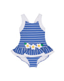 Blue and White Stripe Waffle Knit with Flower Applique