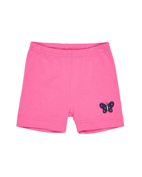Pink Bike Shorts with Butterfly Applique