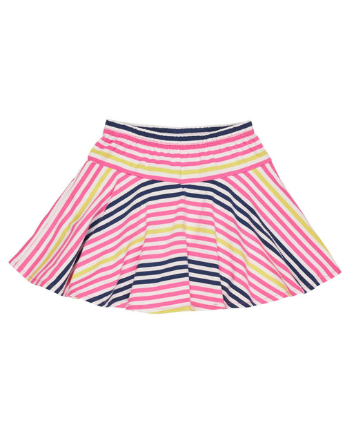 White, Pink and Navy Stripe Skater Skort