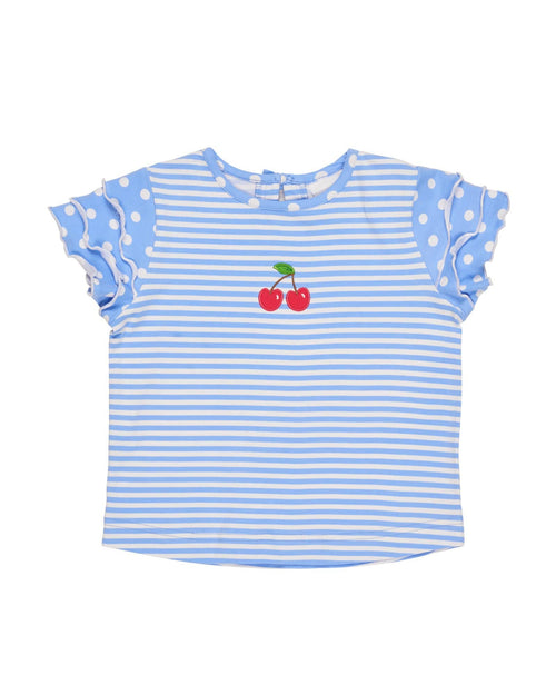 Periwinkle and White Stripe Tiered Sleeve Top with Cherries - Florence Eiseman