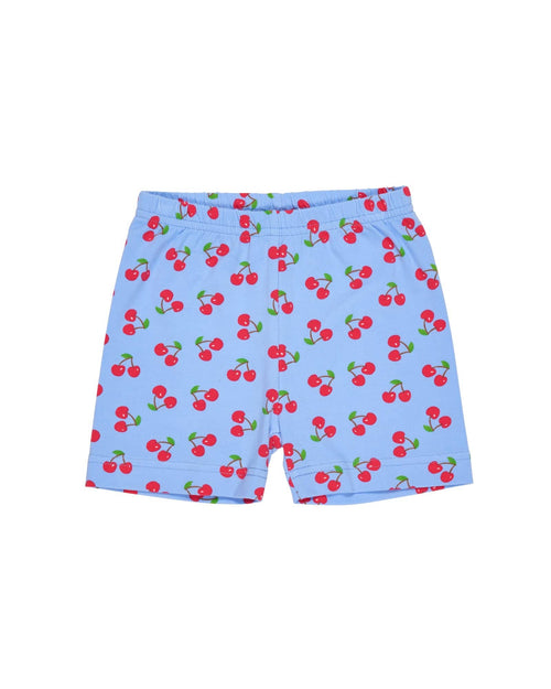 Periwinkle and Red Cherry Print Bike Shorts
