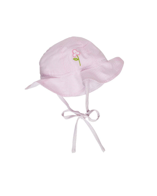 Light Pink Stripe Seersucker Hat with Appliquéd Flower