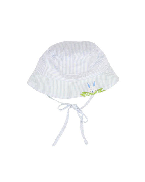 Light Blue Stripe Seersucker Hat with Applique Rabbit