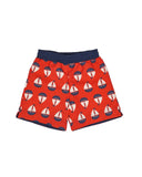 Red and Navy Sailboat Print Quick Dry Swim Trunks - Florence Eiseman