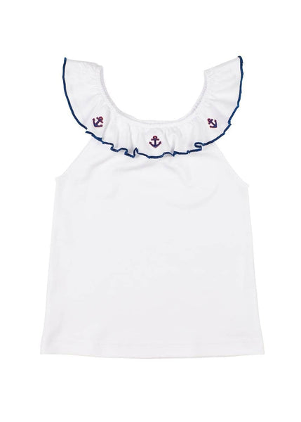 White Elastic Ruffle Neck Top With Anchor Embroidery - Florence Eiseman