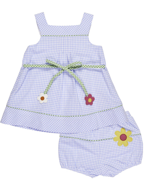 Blue and White Check Seersucker Dress and Bloomer with Flower Applique