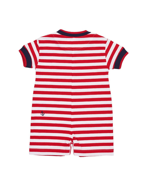 Red and White Stripe Knit Romper with Nautical Embroidery - Florence Eiseman