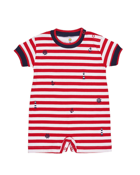 a5678d2a8 Red and White Stripe Knit Romper with Nautical Embroidery