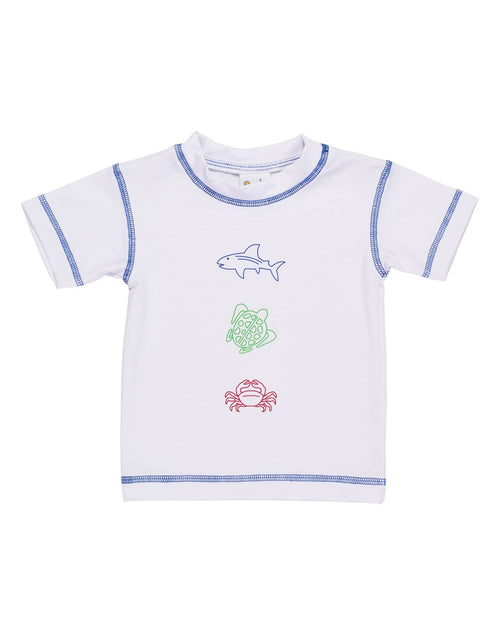 White Rash Guard with Sea Animal Screen Print - Florence Eiseman