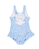 Blue and White Bow Print Swimsuit