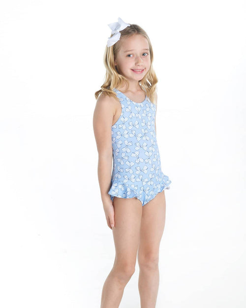 Blue and White Bow Print Swimsuit - Florence Eiseman