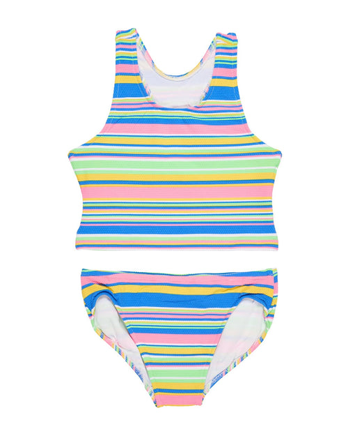Tween Blue, Lime, Coral, and Yellow Stripe Pique Swimsuit