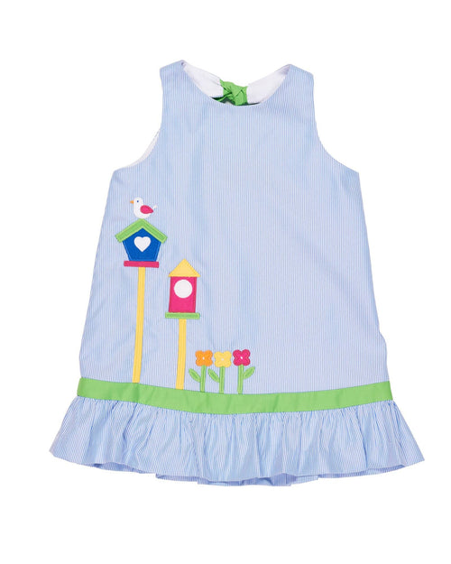 Dress with Birdhouse and Flower Appliques