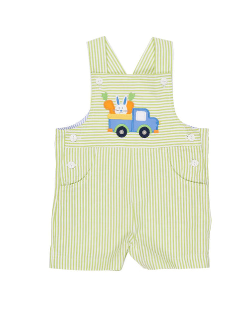 Lime Seersucker Shortall with Appliqué Farm Truck with Rabbit