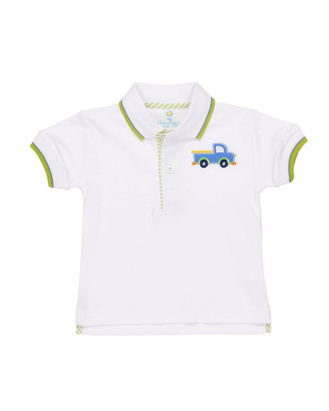 White Polo with Lime Trim and Truck Applique - Florence Eiseman
