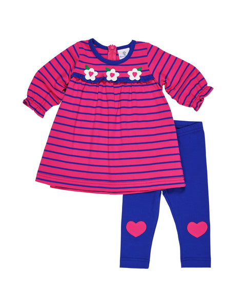 Knitted Stripe Dress and Leggings with Hearts - Florence Eiseman