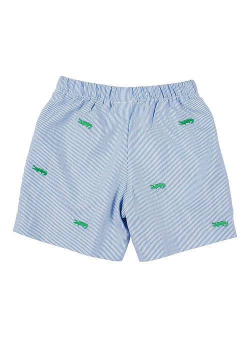 Junior Cord Pull-On Short With Embroidered Alligators - Florence Eiseman