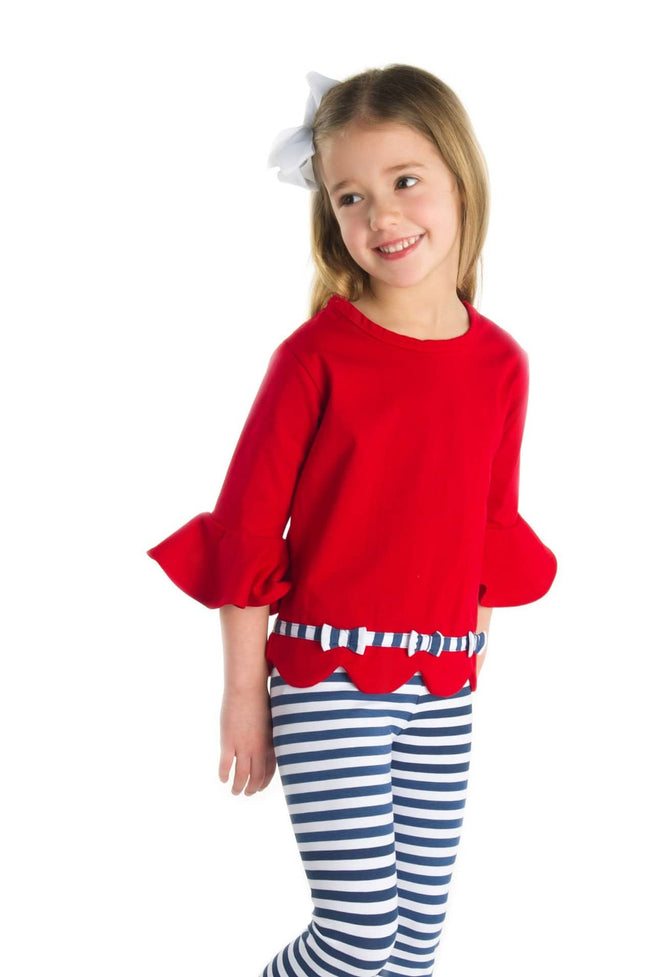 Red Girls Top with Scalloped Hem