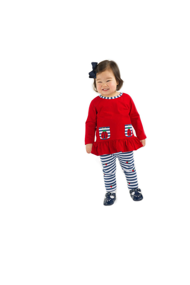 Navy Stripe Leggings with Ladybugs