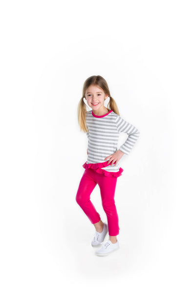 Bright Pink Leggings with Ankle Bows