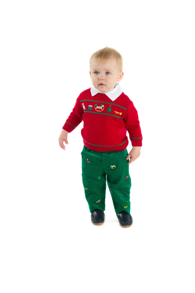 Corduroy Pants with Embroidered Toys