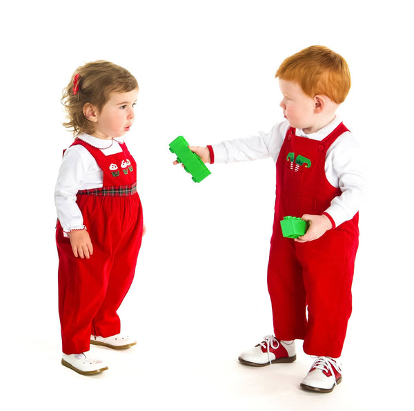 Boys Red Corduroy Overall with Elf Feet