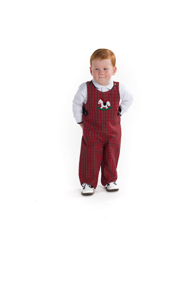 Boys Plaid Longall with Rocking Horse