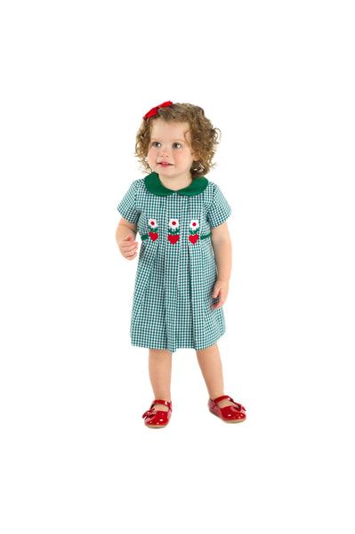 Green Check Dress with Hearts and Flowers