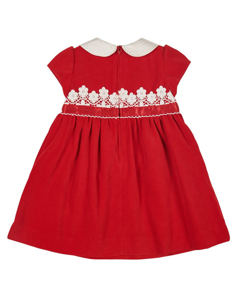 Red Velvet Dress with Lace