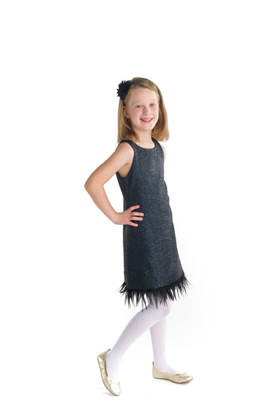 Knit Dress with Feather Hem